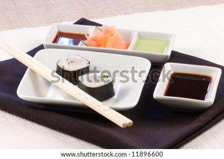 organic fresh sushi made with the best tuna in the market - stock photo