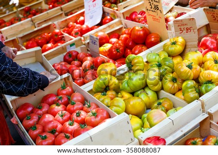 Organic fresh tomatoes from mediterranean farmers market. Healthy local food market. ready for sale and use for ingredient. - stock photo