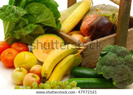 Organic fruit and vegetables - stock photo
