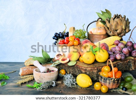 organic fruits and vegetables ,farm products, bio product ,cooking concept - stock photo