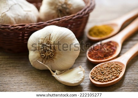 organic garlic and spices - stock photo