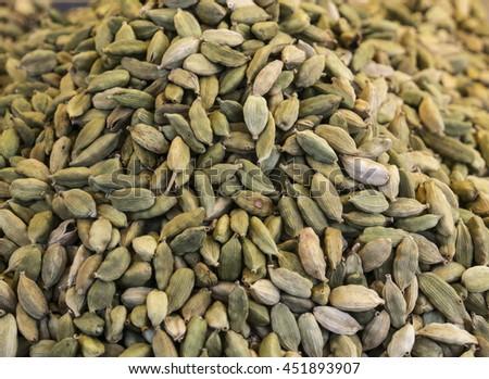 Organic Green or True cardamom (Elettaria cardamomum) - stock photo