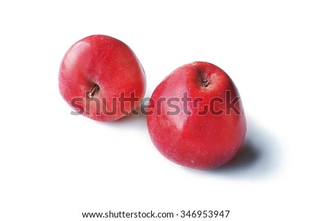 Organic natural red ripe apples on isolated white background. - stock photo