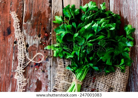 Organic parsley on jute and wooden texture. Top view. - stock photo