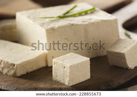Organic Raw Soy Tofu on a Background - stock photo
