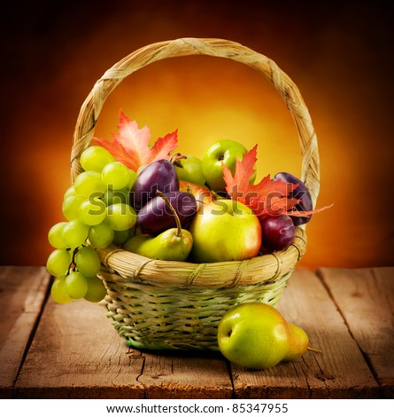 Organic ripe fruits - stock photo