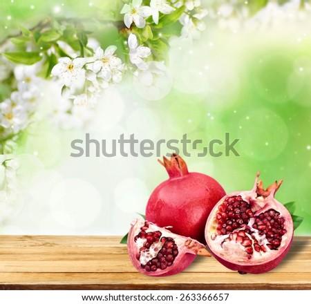 Organic. Ripe juicy pomegranates, food - stock photo