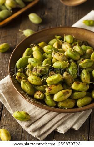 Organic Roasted Fresh Garbanzo Beans in a Bowl - stock photo