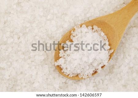 Organic sea salt - stock photo