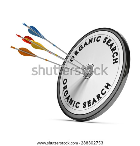 Organic search results on a target with four arrows hitting the center, concept for online visibility - stock photo
