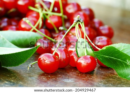 organic sour cherries for a diet - stock photo