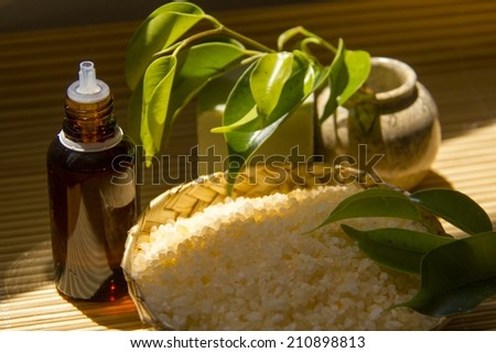 Organic Spa Setting.Natural aromatic oil,bath salt and natural flavored soap.  - stock photo