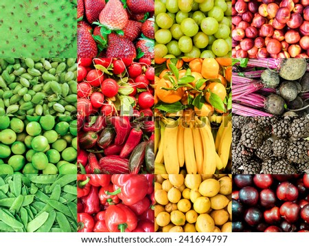 Organic Vegetable collage  - stock photo