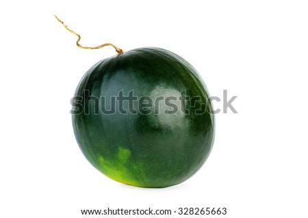 Organic watermelon isolated on white background - stock photo