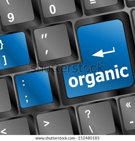 organic word on computer keyboard pc key, raster - stock photo