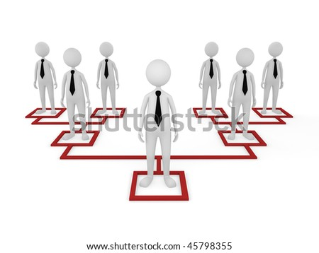 Organization. Concept, depicting employees at different tiers; great for business and organization structure concepts. - stock photo