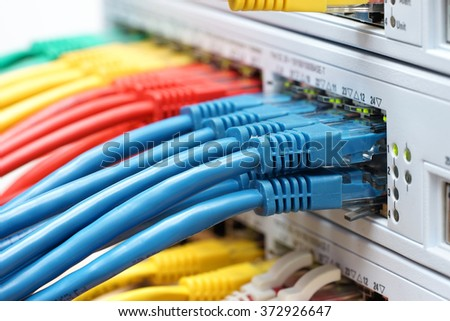 organized cables connected in network switch in data center. Internet, communications concept - stock photo