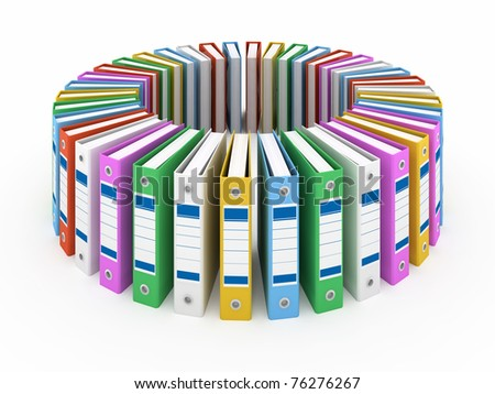 Organized office folders isolated on white - stock photo