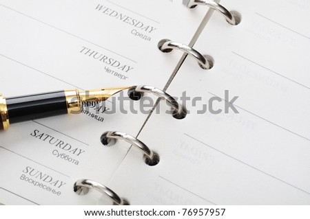 organizer and pen - stock photo