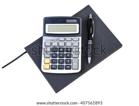 Organizer, pen and calculator isolated on white background - stock photo