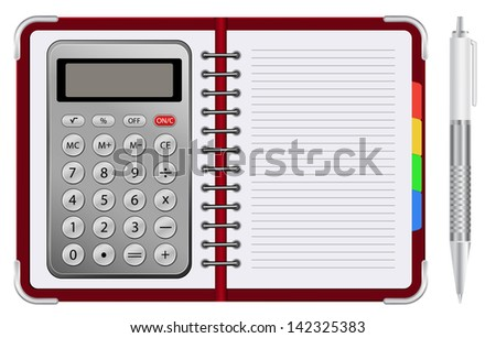 organizer with calculator - stock photo
