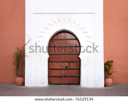 Oriental Arabic door - stock photo