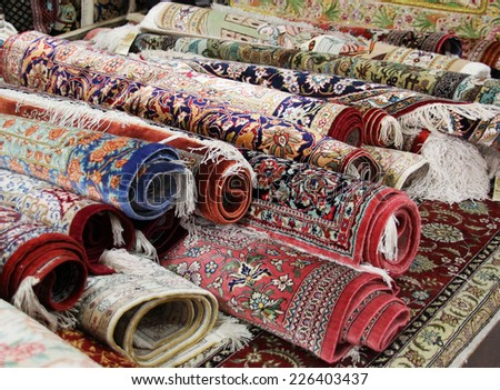 Oriental carpet market - stock photo