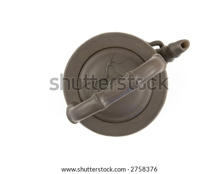 Oriental Clay Teapot Top View Isolated on White - stock photo