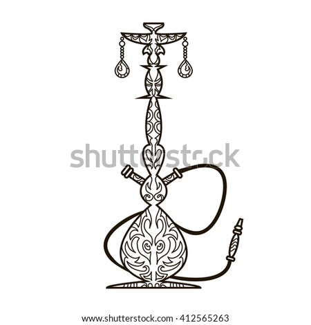 Oriental design line ornament hookah - stock photo