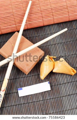 Oriental Dining Fortune Cookie Tradition - stock photo