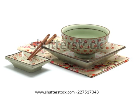 Oriental dinner set isolated on white background - stock photo