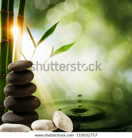 Oriental eco backgrounds with bamboo and water splash - stock photo