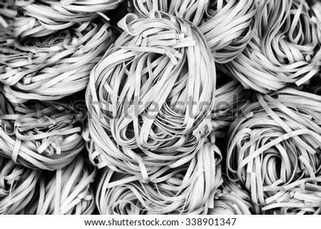 Oriental hand-drawn noodles in Black and White. - stock photo