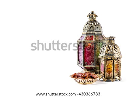 Oriental holidays decoration light lantern on white background - stock photo