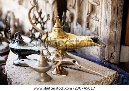 Oriental lamps in the shop at Jaisalmer market, Rajasthan, India    - stock photo