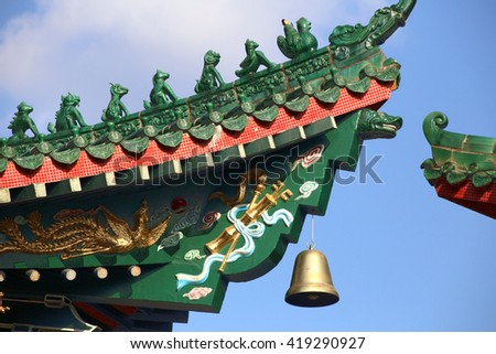 oriental roof details of Chinese temple in Sheung Shui, Hong Kong - stock photo