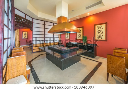 Oriental style interior of the japanese restaurant, kitchen of the luxury five stars resort, hotel. - stock photo