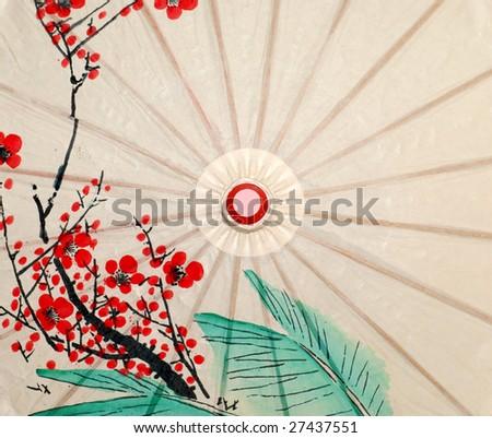 Oriental umbrella closeup - stock photo