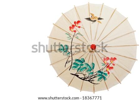 Oriental umbrella isolated - stock photo