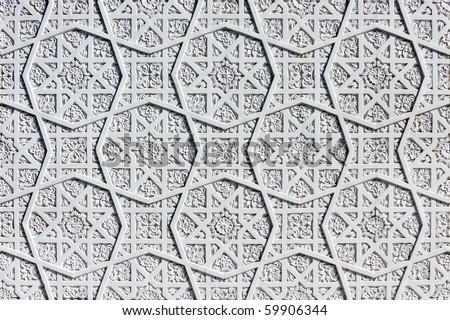Oriental white wall ornament - stock photo