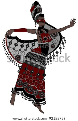 Oriental woman in a beautiful dress dancing on a white background - stock photo