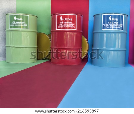 Orientation of reusing waste - containers for selective collection  - stock photo