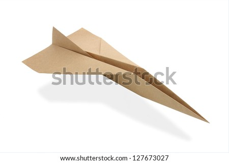origami airplane from recicled paper - stock photo