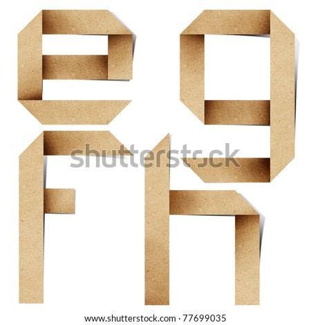 Origami alphabet letters recycled paper craft stick on white background ( e f g h ) - stock photo