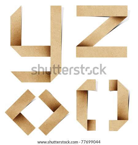 Origami alphabet letters recycled paper craft stick on white background (  y z < > [ ] ) - stock photo