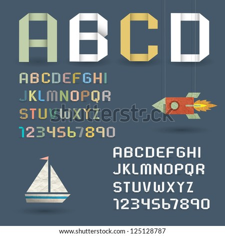 Origami Alphabet with Numbers in retro style. Raster version - stock photo