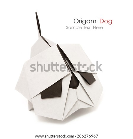 Origami angry security bulldog dog black and white on white background - stock photo