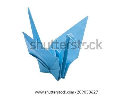 Origami bird on white background  - stock photo