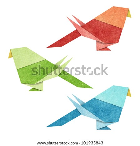 Origami Bird ( Zebra Parakeet )  made from Recycle Paper - stock photo
