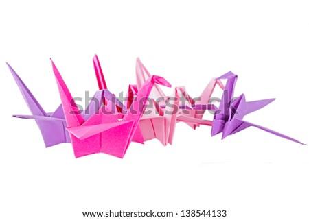 Origami birds - stock photo